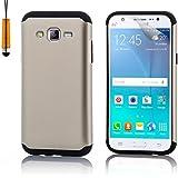 Samsung Galaxy J5 (2015) SM-J500 Armadura Funda Carcasa protectora Slim Armour de Doble Capa Anti Golpes de 32nd®, incluye lápiz optico - Oro