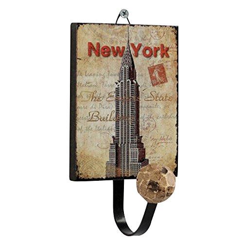 Forepin® Retro Europea Modello New York City Appendiabiti Supporto Gancio a Muro Parete Hanger per Vestiti, Cappotto, Tovagliolo, Accappatoio Porta Hanger - Disegno Vintage