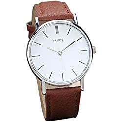 Familizo Unisex Retro Design Leather Band Analog Alloy Quartz Wrist Watch Brown