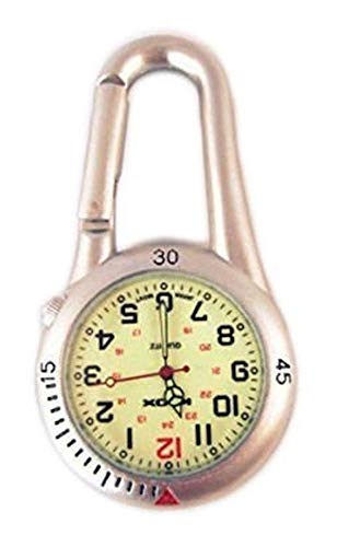 Moschettone bianco con orologio a faccia luminosa ideale per dottori paramendici infermieri e cuochi