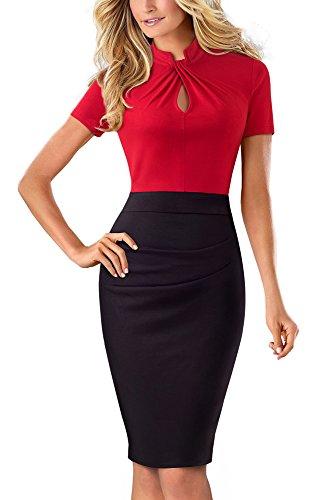 HOMEYEE Damen Vintage Stehkragen Kurzarm Bodycon Business Bleistift Kleid B430(EU 40 = Size L,Rot) (Kurzarm-kleid Karriere Frau)