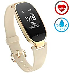 Reloj Inteligente Mujer ZKCREATION Fitness Tracker K3 Bluetooth Smartwatch Pulsera Inteligentes Actividad Monitor Cardio Podómetro IP67 Impermeable Monitor de Sueño Compatible con Android y iOS(Oro)