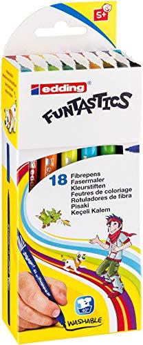 edding 4-15-18-1 Fasermaler Filzstifte e-15, 18er Set, Funtastic, circa 1 mm