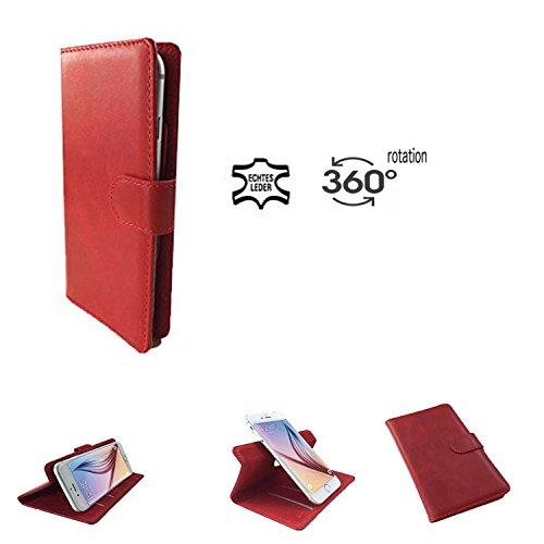 Handy Hülle für - HAIER HaierPhone VOYAGE V3 - High Quality Echtleder mit 360 Grade Dreh und Standfunktion - 360° Nano M Leder Rot