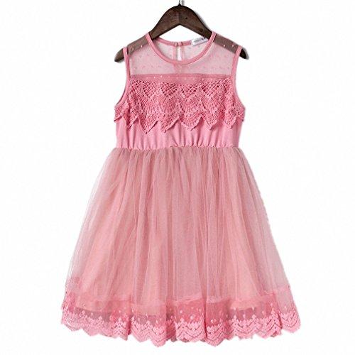 Bab&Luoli Kinder Spitze Kleid Mädchen Außen-Gas Rock Gaze Prinzessin Kleid Baumwolle Innenfutter mit Reißverschluss, Rose, 120cm, -