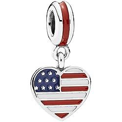 Pandora Damen-Bead Herzflagge USA 925 Silber Emaille - 791548ENMX