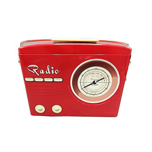 stylebox Blechdose rotes Radio mit Henkel Keksdose Deko Box Dose Retro 22x6x16 cm