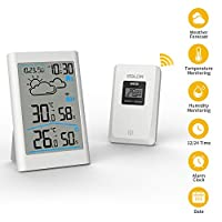 CABLETRANS Wireless Weather Station with Outdoor Sensor, Digital Weather Station Radio with weather forecast, clock, alarm and night light with Indoor Outdoor Room Humidity for Home Office