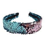 Mode Meerjungfrau Pailletten Stirnband Reversible Pailletten gepolsterte Haarband Alice Band für Mädchen und Frau Party Geschenk (Lake Blue und Kaffee)