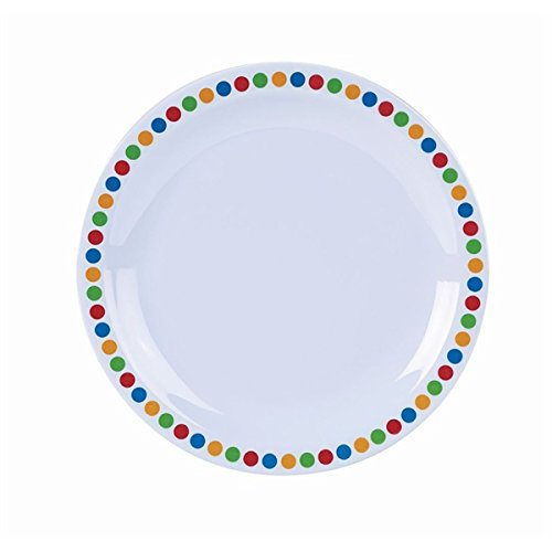 "41Os46nHSSL. SS500  - Genware MEL9PL-CC Melamine Plate, 9"", Coloured Circles (Pack of 12)"