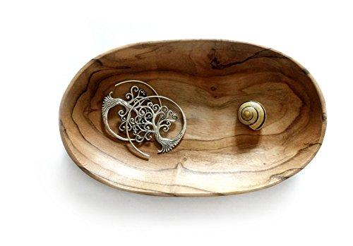 Windalf Kleine Seifen Schmuck Schale OMNY b: 10 cm Münzen & Schlüssel Handarbeit aus Holz Ovale Schale