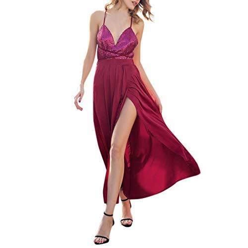 (Luckycat Frauen Arbeiten Sequin Ärmel Verordnung tiefes V Ausschnitt Kleider Abendkleider Schwingenkleid Partykleider Cocktailkleid Blusenkleid)