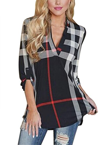 ISASSY Womens V Neck Chiffon Striped Plaid Long Sleeve Casual Loose Blouses Tops T Shirts Black XL(UK12)/(EU40)