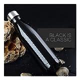 AGNN 350/500 / 750 / 1000ml Doppio Muro Isolato Vuoto Bottiglie Pallone in Acciaio Inox di Calore Thermos for Gli Sport Acquatici Thermos Portatili (Capacity : 500ML, Color : Black)