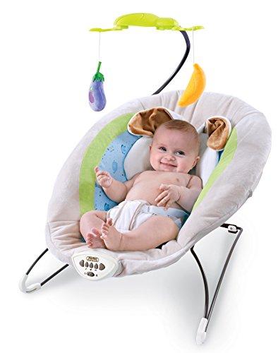 Babywippe mit Vibration und verschiedenen Melodien zur Auswahl | Babyschaukel mit Mobile für Kinder bis 11,3 kg geignet