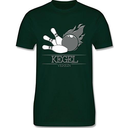 Bowling & Kegeln - Kegel Verein Kugel Flamme - Herren Premium T-Shirt Dunkelgrün