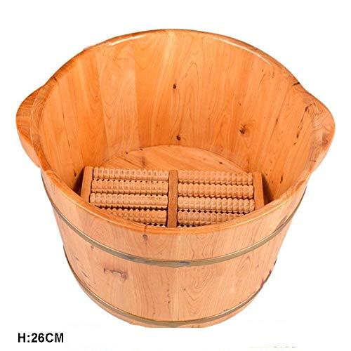 JDHFKS Holzfässer Pediküre-Becken 26cm Eimer Füße Fuß Wanne Pediküre-Becken Holzfuß Becken Holzsaunakübel Holzfuß Spa Wirksam Gegen Müdigkeit -