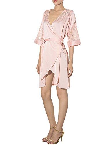 iB-iP Damen Seidig Glatte Schulter Spitzen Ausschnitt Hemdchen Knielang Robe Creme