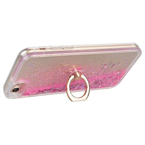 """HB-Int 3 in 1 Hülle für iPhone 7 (4.7""""), 3D Fließen Flüssig Handyhülle mit Standfunktion Holder Glitzer Bling Hart PC Back Case + Weich Silikon Rahmen Tasche Slim Luxus Transparent Schutzhülle Standpl Rosa"""