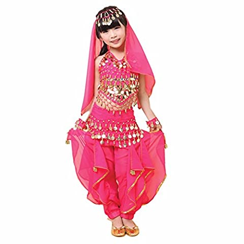 Best Dance Kid/Children Belly Dance Costume, Harem Pants & Halter Top & Coins Belts Sets Dark Pink