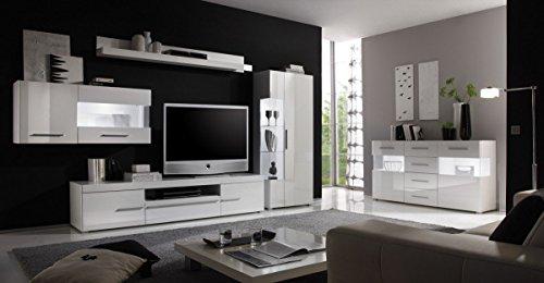 Dreams4Home Wohnzimmer Set 'Anisha' - Set, Glasvitrine, Hängevitrine, TV-Lowboard, Wandregal, Sideboard, Medienwand, Phono Möbel, Aufbewahrung, Wohnzimmer, in hochglanz weiß, Beleuchtung:2 x Unterbaubeleuchtung kalt weiß