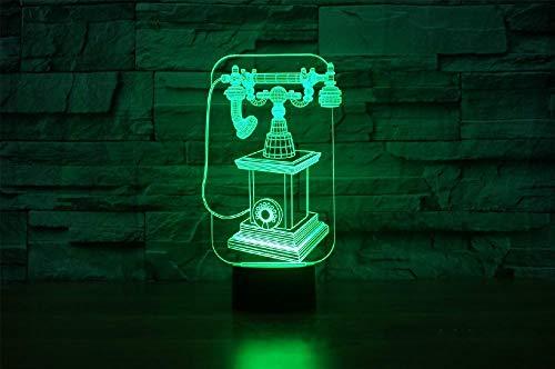 LLXPDZ 3D Nachtlicht Alte Weisen Telefon Visuelle Acryl Illusion Lampe 7 Farben Ändern Usb Led Tischlampe