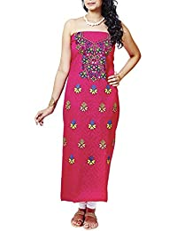 Gleamberry Women's Cotton with Hand Embroidered Kurti Unstitched Material