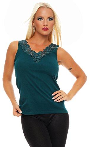 Hochwertiges Damen Träger-Top mit großer Spitze Nr. 416 (Oberteil / Unterhemd / Träger-Shirt) 100% Baumwolle Grün