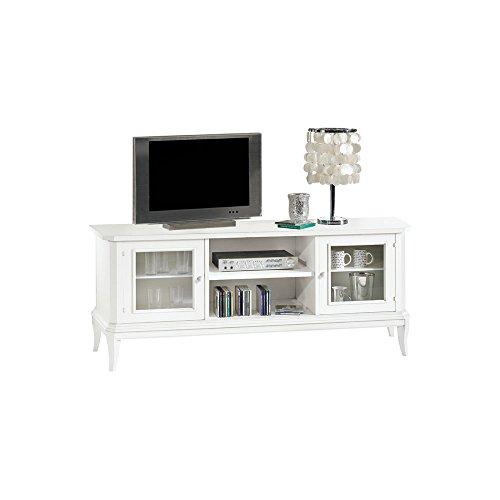 Meuble TV, Style Classique, en Bois Massif et MDF avec Finition Blanc Mat - Dim. 164 x 46 x 64