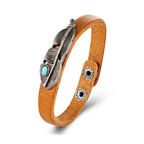 Preisvergleich Produktbild Incendemme Armband Unisex leder Armreif mit Feder Türkis Design Band cool Geschenk Schmuck für Damen Herren (Braun)