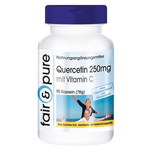 Quercetina 250mg con vitamina C - vegan - senza stearato di magnesio - 90 capsule di quercetina