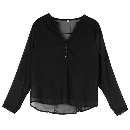 LAEMILIA Chemise Femmes T-Shirt Eté Casual Col-V Manches Courtes Tunique Tops Blouse Noir