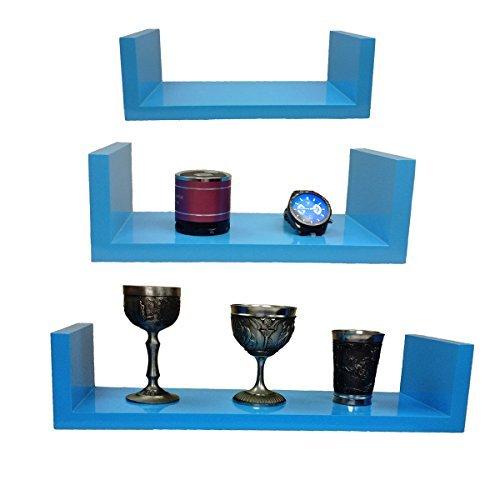 3 pièces Set Design étagère murale Livres CD étagère Cube en différentes couleurs Dekowuerfel NEUF - Bleu