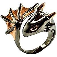 Twilight Dragon Ring by MONVATOO London, ein Drachenring-Schmuckstück in freier Größe (verstellbares Band) mit Black ruthenium und 18 Karat Roségold