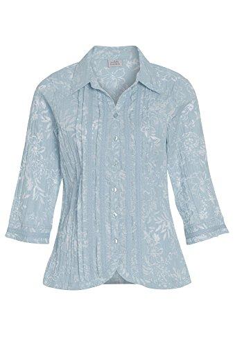 Damen Shirt Tunika Longshirt Blusenshirt geknöpft Stickmuster schwarz Gr.38 46