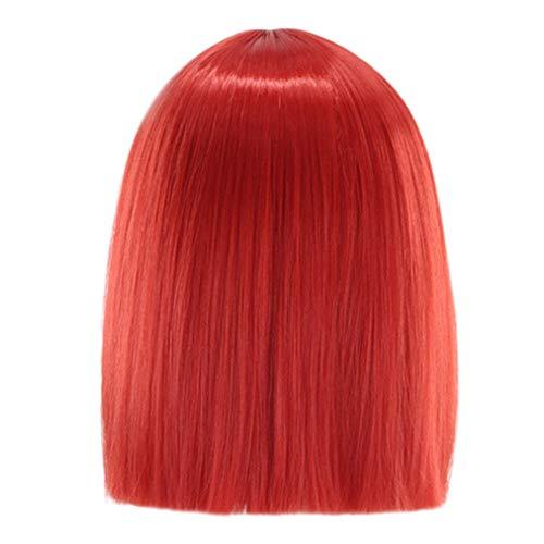 QHJ Fashion Günstige Mädchen gefärbt kurz gerade Haar, grau Perücken, Gradient Wave Bob, Damen Synthetik Spitze Perücke und gratis Perücke Kappe ()