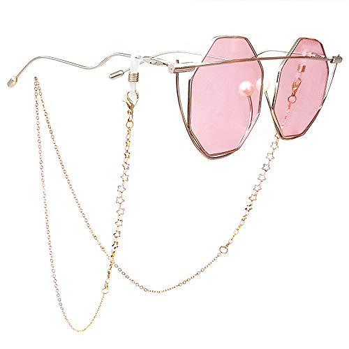 TERAISE Brillen Kette FüR Frauen/Damen Retro Mode Metall Geschnitzt Sonnenbrille SchnüRe Verstellbar Mit Sauberen Tuch(Gold) -