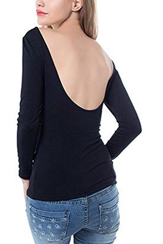 Chemises à manches longues dos nu Bodycon femmes Black