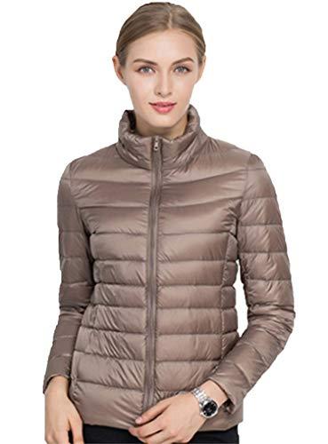 Sytiz New Winter Down Coat Women Warm Chic Parkas Solid Stand 90% White Duck Long Sleeve Jackets Light Slim Autumn Khaki S
