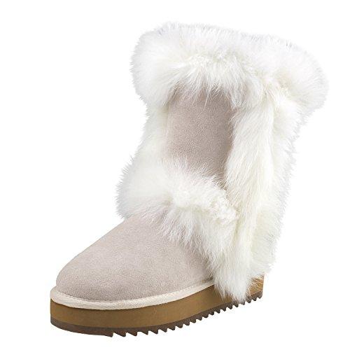 Shenduo Damen Schneestiefel Halb Winterstiefel Warme Pelz Stiefel Stiefeletten Winterstiefe D9256 Weiß 36 (Handgefertigten Stiefel Leder)