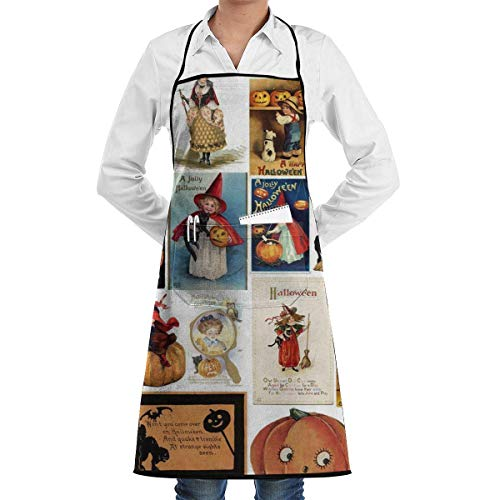 xcvgcxcvasda Einstellbare Latzschürze mit Tasche, Halloween Cards Adjustable Cooking Kitchen Bib Schürze with for Women Men Chef Cooking, Baking, Crafting, Gardening, BBQ
