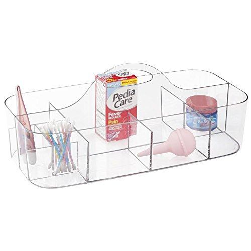mDesign Boîte de rangement en plastique pour table à langer – panier rangement pour produits soins bébé, lotions et thermomètres – 11 compartiments – bac rangement en plastique résistant – transparent