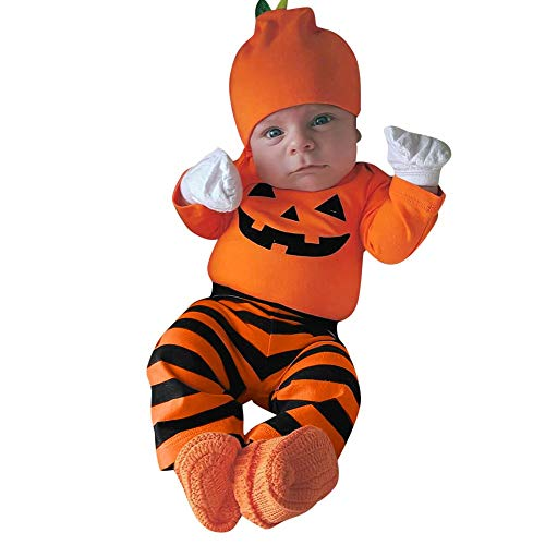 Writtian Neugeborenes Kleinkind Kinder Halloween Kostüm Kürbis Motiv Baby Overalls Mädchen Gedruckt Toddlern Halloween Langarm Gestreift Hosen Hut 3in5 Cosplay Nette Outfits (Billig Halloween Kostüm Selbstgemacht)