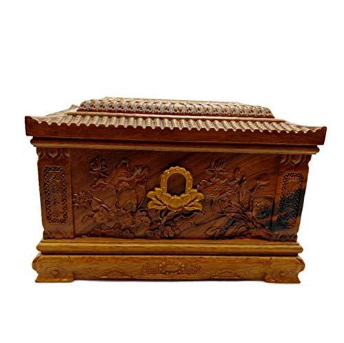 YAMEIJIA Urna para Mascotas Caja de pera Tallada urna de Madera para Mascotas ataúd para Perros Cementerio 34 * 23 * 23 cm