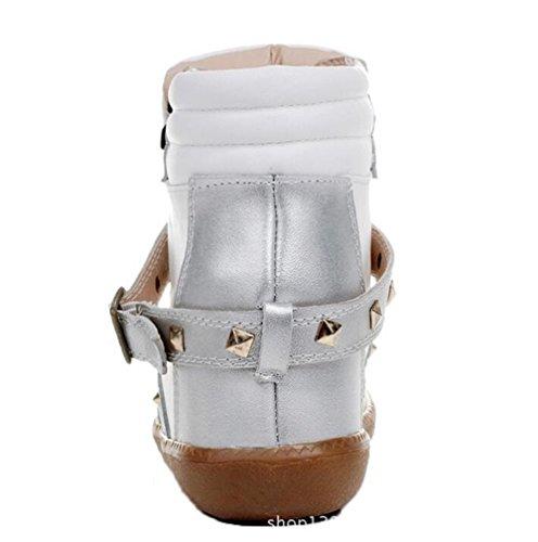 Wealsex Baskets Mode Compensées Montante PU Cuir Rivet Lacet Boucle Cheville Or Argent Femme Argent