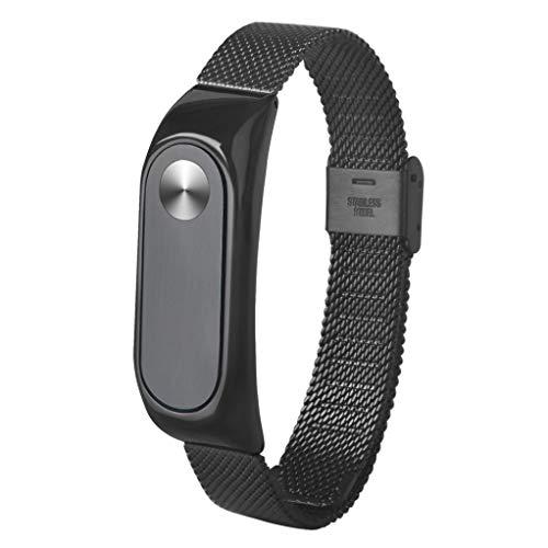 Correas xiaomi Band 2, ☀️Modaworld Pulsera Ligera de Acero Inoxidable de Moda Correa de Reloj Inteligente Correa de Repuesto para Xiaomi MI Band 2 (Negro)