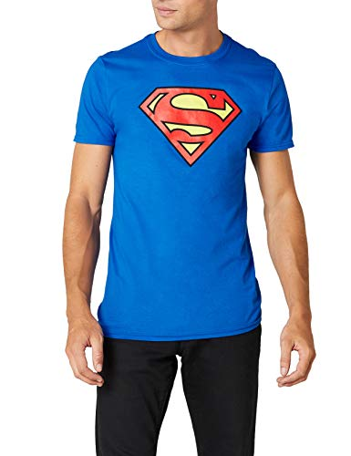DC Superman Logo Crew Neck T-Shirt, Blue, S to 3XL