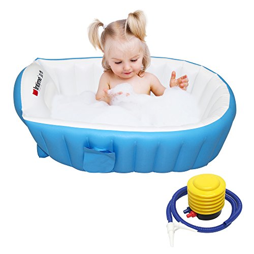 Signstek tragbare aufblasbare Badewanne Planschbecken Schwimmbecken für Baby und Kleinkinder (Blau)