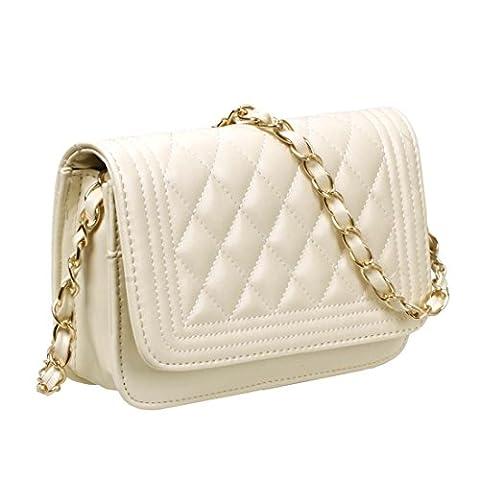 BMC massif en cuir PU de Mini sac à main matelassé avec embrayage - Blanc - crème,