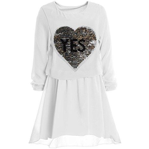 er Spitze Frühlings Kleid Peticoat Festkleid Lang Arm Kostüm 21021, Farbe:Weiß;Größe:164 (Armee-kostüm Für Mädchen)